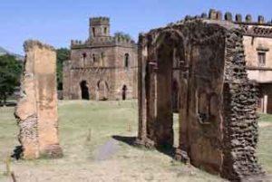 Sehenswürdigkeit: Die Ruine der Gondar in Äthiopien