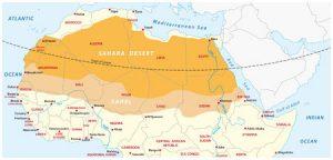 Karte von der Sahara und der Sahelzone