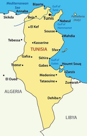 Tunesien: Karte des nordafrikanischen Staates Tunesien