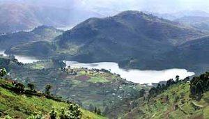 Schöne Berglandschaft: die Virunga-Berge in Uganda